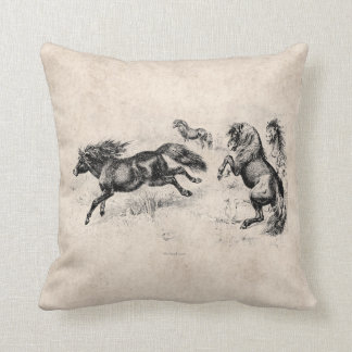 Potros de Shetland del vintage - caballo 1800's y Almohadas