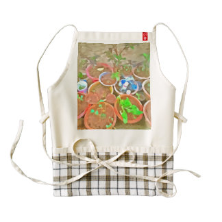 Pots and plants in a home garden zazzle HEART apron