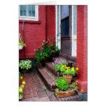 Pots of Flowers By Door Card