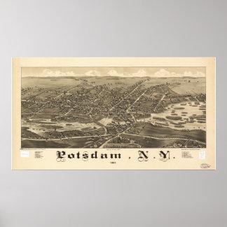 Potsdam New York 1885 Antique Panoramic Map Poster