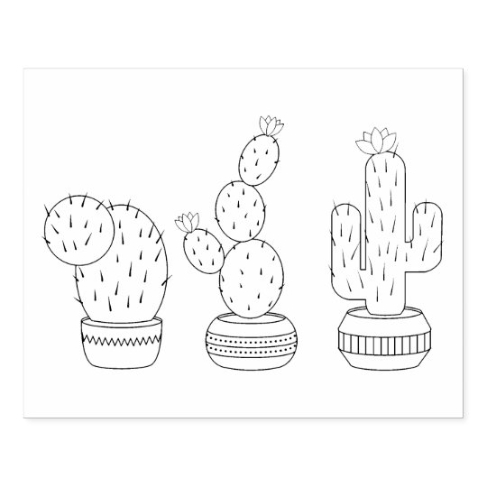 Potted Cacti - Cactus Plants Coloring Page Rubber Stamp ...
