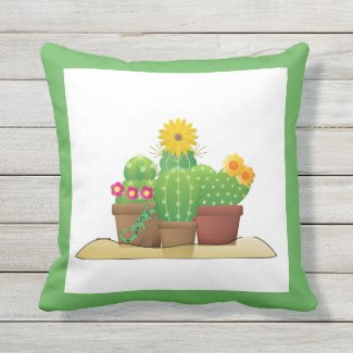 Potted Cactus Plants Outdoor Porch Throw Pillow