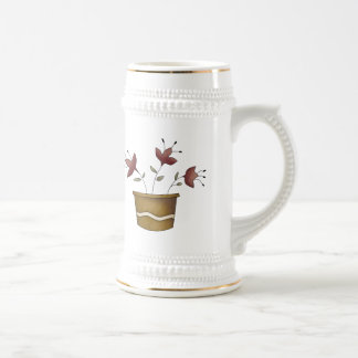 Potted Flowers Beer Stein