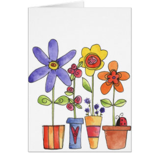 Potted Flowers - Note Card