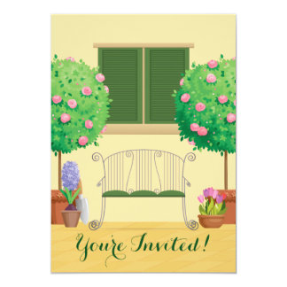 """Potted Garden with Bench Baby Shower Invitation 5"""" X 7"""" Invitation Card"""