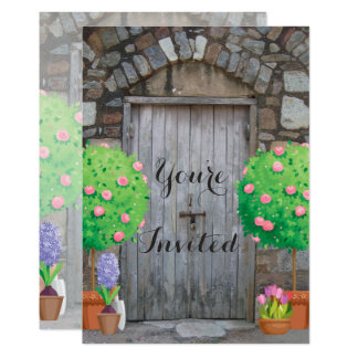Potted Garden Wood Door Family Reunion Invitation