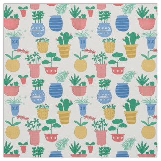 Potted houseplants , cacti orchids and succulents fabric