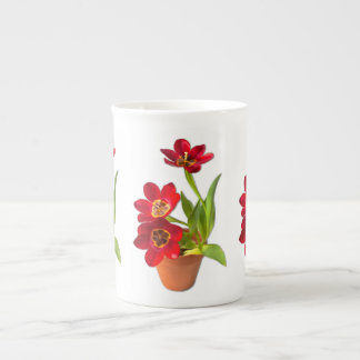 Potted Mature Red Tulips Photograph Tea Cup