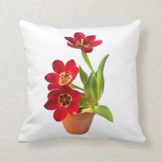 Potted Mature Red Tulips Photograph Throw Pillow