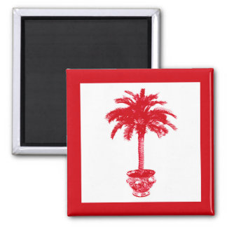 Potted Palm Tree - deep red and white Magnet