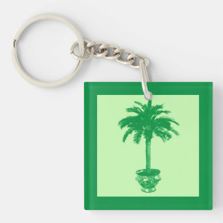 Potted Palm Tree - emerald and light green Acrylic Keychain