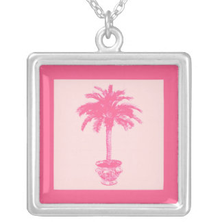 Potted Palm Tree - shades of coral pink Silver Plated Necklace