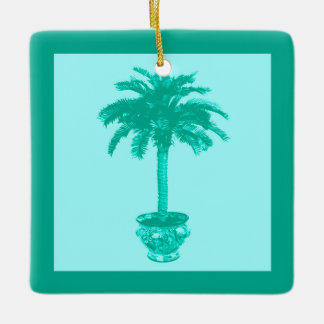 Potted Palm Tree - turquoise and aqua Ceramic Ornament