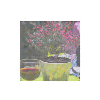 Potted pink Flowers and wine in Paris Stone Magnet