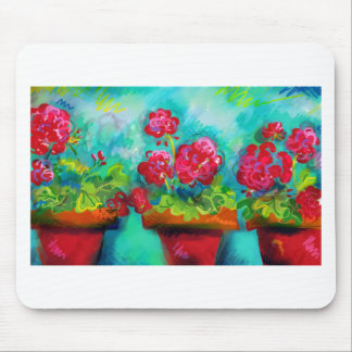 Potted Pink Geraniums Mouse Pad