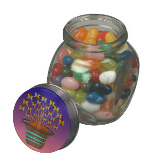 Potted Pinwheels Glass Jar w/Tin Top & Jelly Beans