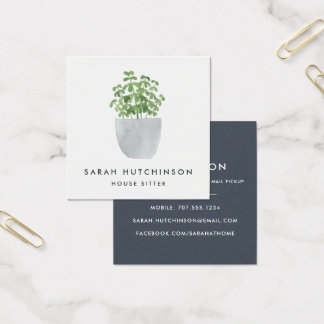 Potted Plant | House Sitter Square Business Card
