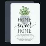 "Potted Plant | Housewarming Party Invitation<br><div class=""desc"">Invite friends and family to your new home with our charming housewarming party invitations,  featuring a sweet potted houseplant illustration in green and gray watercolor with &quot;home sweet home&quot; in soft black script and block typography. Use the template fields to add your custom intro,  hose information and party details.</div>"