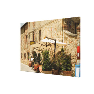 Potted plants and patio umbrellas in front of a canvas print