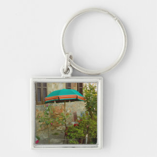 Potted plants in lawn, San Gimignano, Siena Silver-Colored Square Keychain