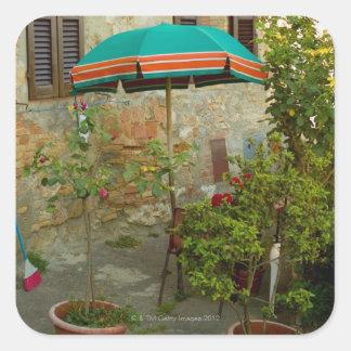 Potted plants in lawn, San Gimignano, Siena Square Sticker