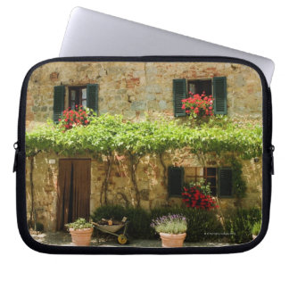 Potted plants outside a house, Piazza Roma, Computer Sleeve