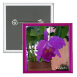 Potted Purple Orchid Flower Button