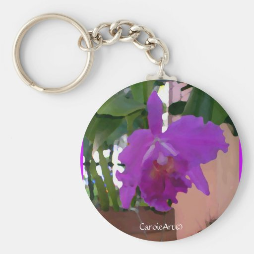 Potted Purple Orchid Pink Wall Basic Round Button Keychain