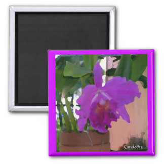 Potted Purple Orchid Pink Wall Refrigerator Magnets