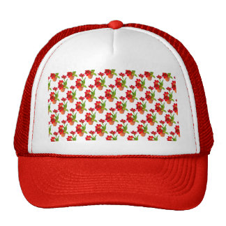 Potted Red Tulips Wallpaper Pattern Trucker Hat