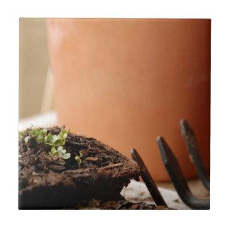 Potted Seedling Ceramic Tile