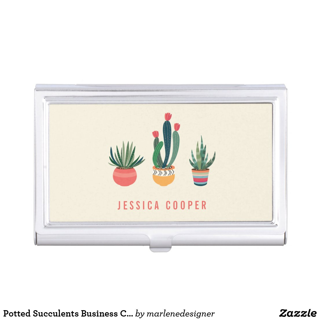 Potted Succulents Business Card Holder