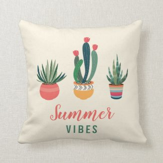 Potted Succulents Summer Pillow