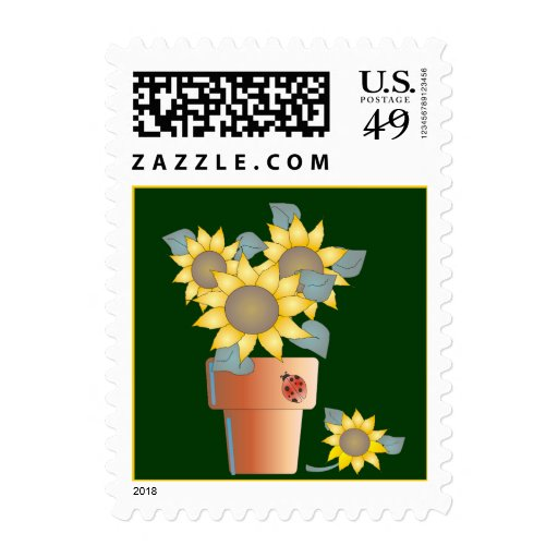 POTTED SUN by SHARON SHARPE Postage Stamp