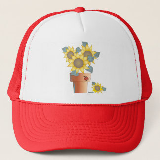 POTTED SUNFLOWERS by SHARON SHARPE Trucker Hat