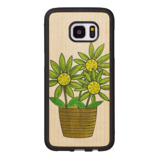 Potted Sunflowers Illustration Wood Samsung Galaxy S7 Edge Case