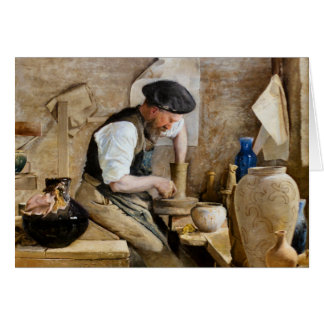 Potter Herman Kähler in his Workshop by L A Ring Card
