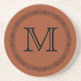 Potters Clay Russet Orange Solid Color Monogram Coaster