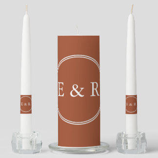 Potters Clay with White Wedding Detail Unity Candle Set