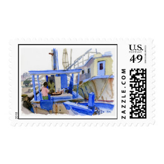 Potters Fish Boat postage stamp