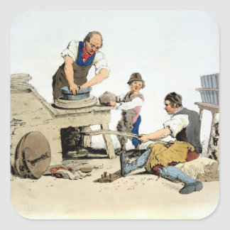 Potters, from 'Costume of Great Britain', publishe Square Sticker