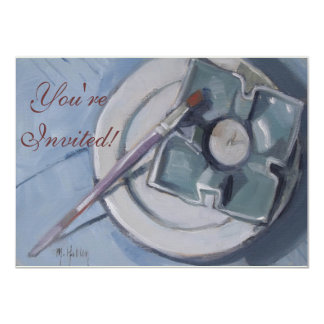 """Pottery and paintbrush Still Life Painting 4.5"""" X 6.25"""" Invitation Card"""
