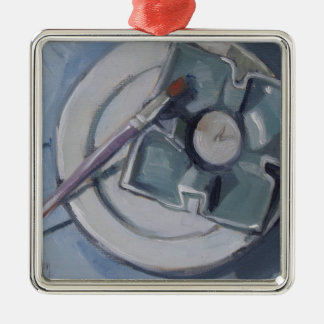 Pottery and paintbrush Still Life Painting Metal Ornament