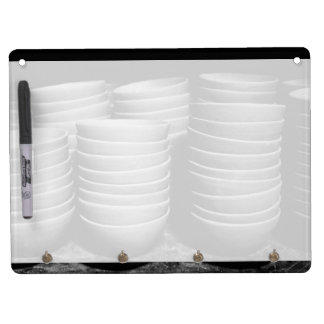 Pottery bowls dry erase board with keychain holder
