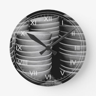 Pottery bowls round clock