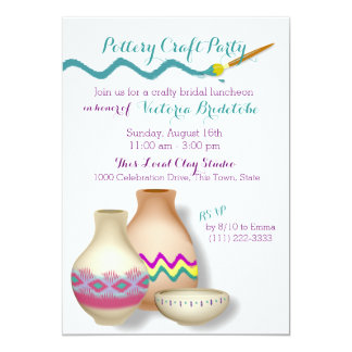 "Pottery Bridal Luncheon 5"" X 7"" Invitation Card"