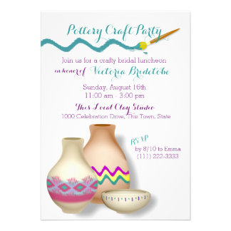 Pottery Bridal Luncheon Personalized Announcements
