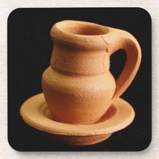 Pottery closeup drink coaster