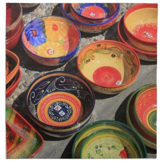 Pottery in many bright colors napkin