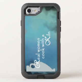 Pottery Kiln design on a blue background OtterBox Defender iPhone 7 Case